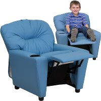 Light Blue Vinyl Kids Recliner with Cup Holder