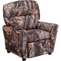 Camouflage Fabric Kids Recliner with Cup Holder