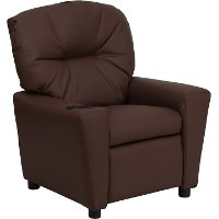 Brown Leather Kids Recliner with Cup Holder