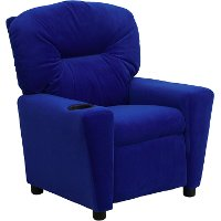 Blue Microfiber Kids Recliner with Cup Holder
