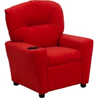 Red Microfiber Kids Recliner with Cup Holder
