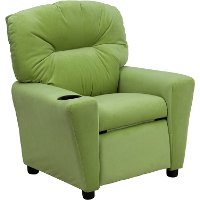 Avocado Microfiber Kids Recliner with Cup Holder
