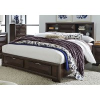 Brown Contemporary Queen Storage Bed - Newland