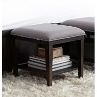 Charcoal Contemporary Upholstered Bench Cube - Tivoli