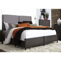 Clearance Charcoal Contemporary Upholstered Queen Size Bed - Tivoli