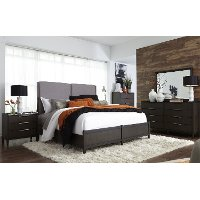 Contemporary Charcoal 6 Piece Queen Bedroom Set - Tivoli