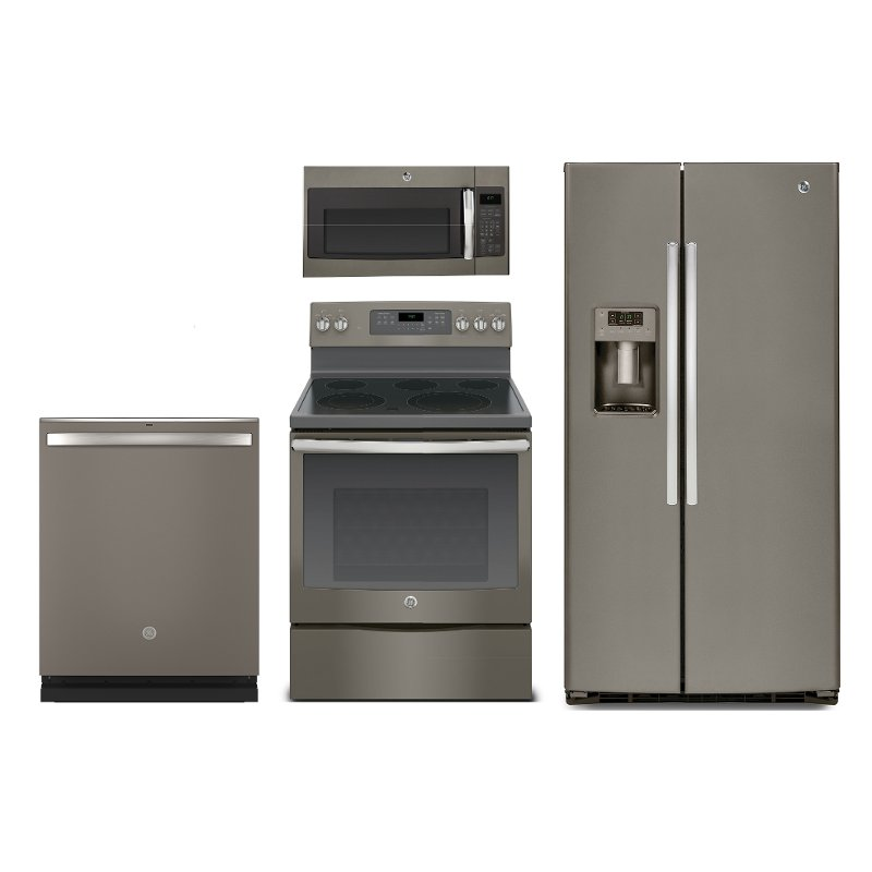 GE 4 Piece Electric Kitchen Appliance Package with Side by Side  Refrigerator - Slate