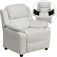 White Vinyl Kids Recliner with Storage Arms
