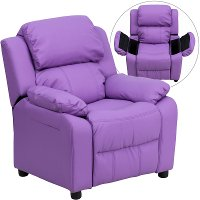 Lavender Vinyl Kids Recliner with Storage Arms