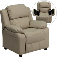 Beige Vinyl Kids Recliner with Storage Arms