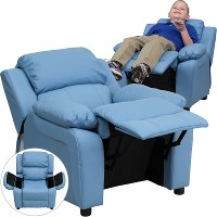 Light Blue Vinyl Kids Recliner with Storage Arms