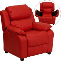 Red Vinyl Kids Recliner with Storage Arms
