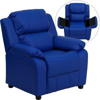 Blue Vinyl Kids Recliner with Storage Arms