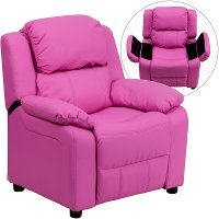 Hot Pink Vinyl Kids Recliner with Storage Arms