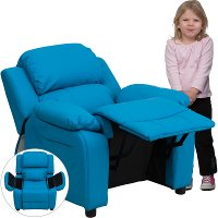 Turquoise Vinyl Kids Recliner with Storage Arms