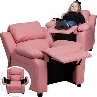 Pink Vinyl Kids Recliner with Storage Arms