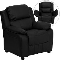 Black Leather Kids Recliner with Storage Arms