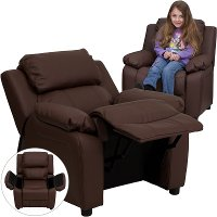 Brown Leather Kids Recliner with Storage Arms