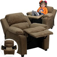 Brown Microfiber Kids Recliner with Storage Arms