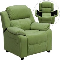 Avocado Microfiber Kids Recliner with Storage Arms