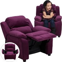 Purple Microfiber Kids Recliner with Storage Arms