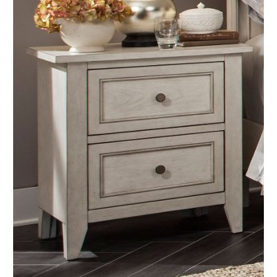 Weathered White Nightstand - Raelynn