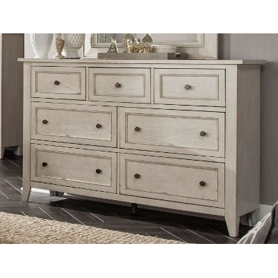 Weathered White Casual Traditional Dresser - Raelynn