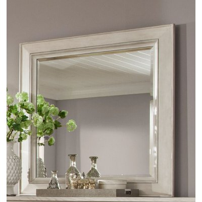 Weathered White Casual Traditional Mirror - Raelynn