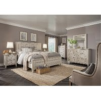White Casual Traditional 6 Piece Queen Bedroom Set - Raelynn