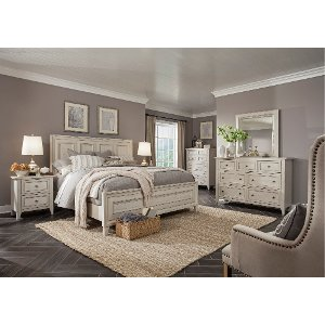 White Casual Traditional 6 Piece Queen Bedroom Set Raelynn