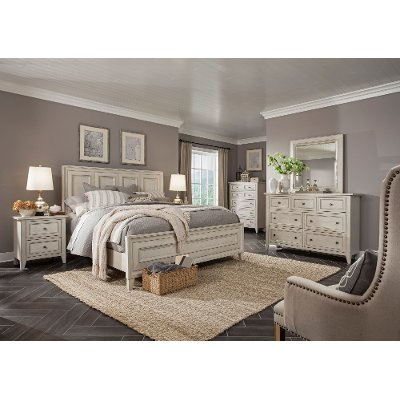 white casual traditional 6 piece calking bedroom set raelynn