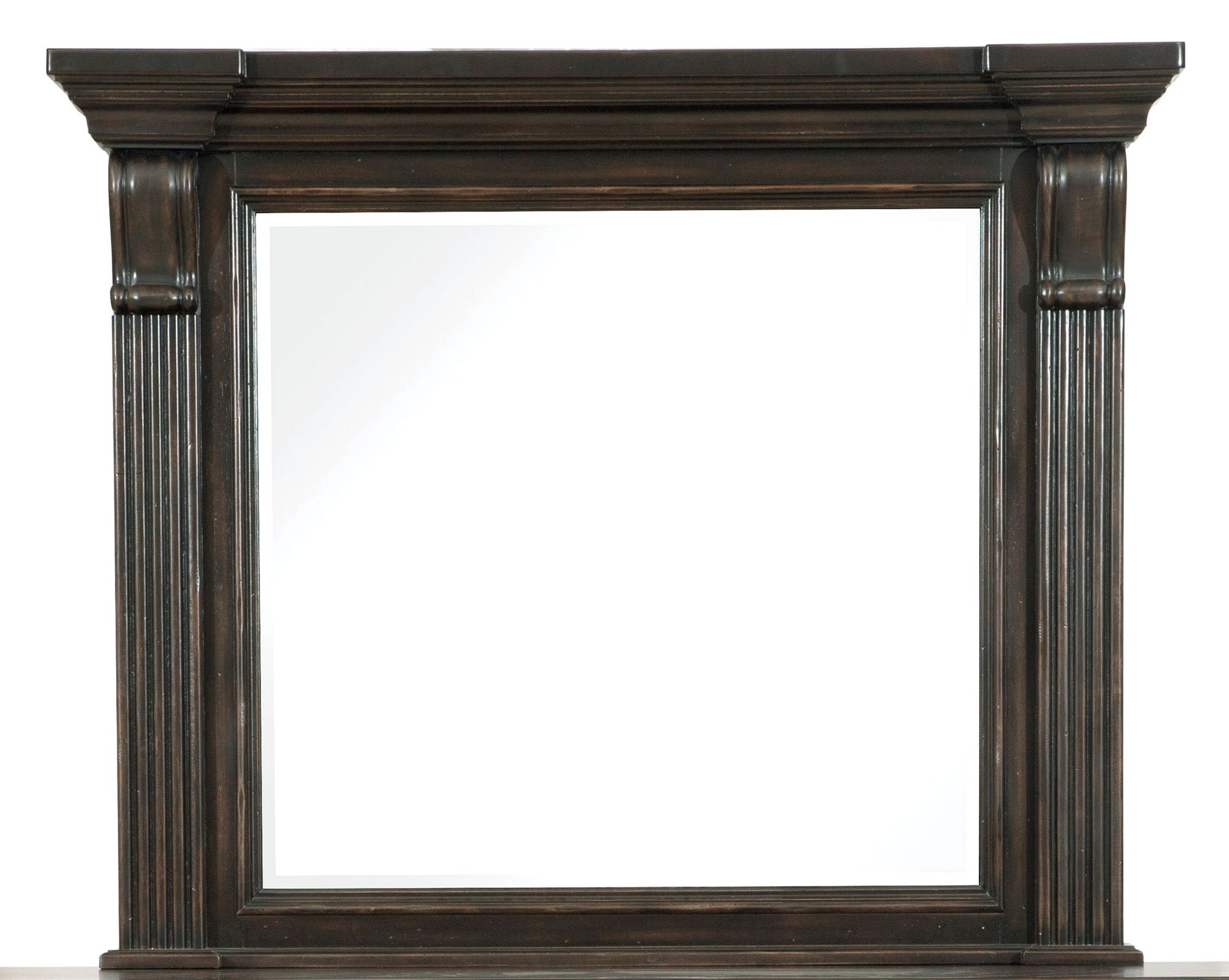 Molasses classic traditional 6 piece queen bedroom set for Traditional mirror