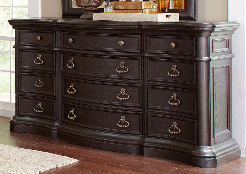 Dark Oak Linen Traditional 6 Piece King Bedroom Set