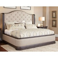 Dark Oak & Linen Traditional Wingback Upholstered Queen Size Bed - Ravena