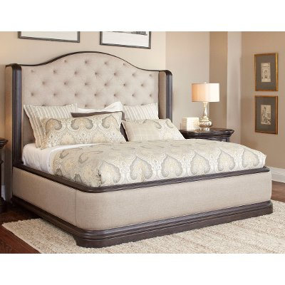 Dark Oak Wingback Upholstered Queen Bed - Ravena