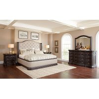Dark Oak & Linen Traditional 4 Piece Queen Bedroom Set - Ravena