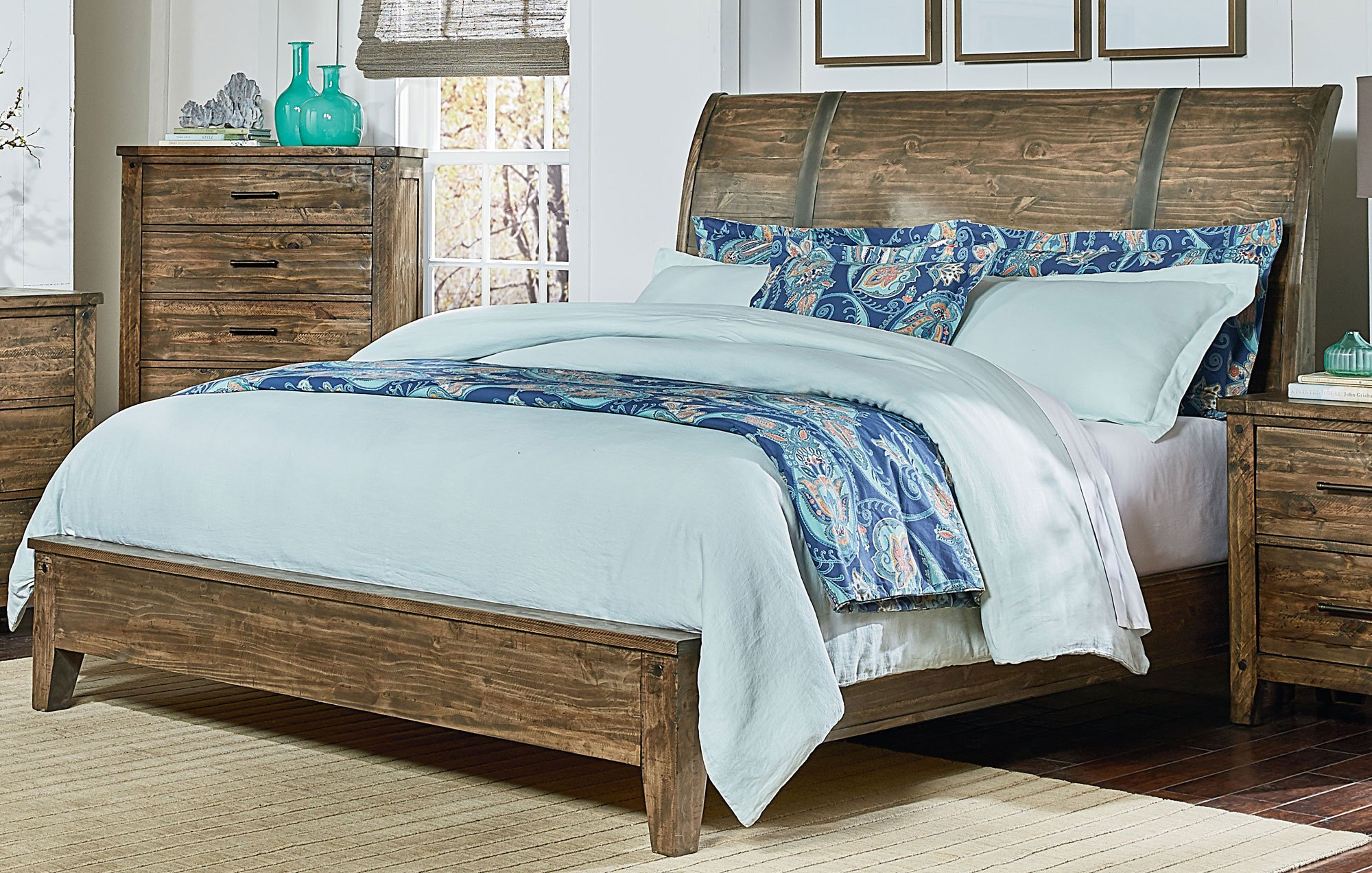 Rustic Casual Pine 6-Piece King Bedroom Set - Nelson