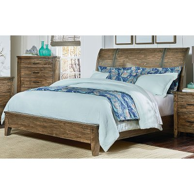 Rustic Casual Pine King Sleigh Bed - Nelson