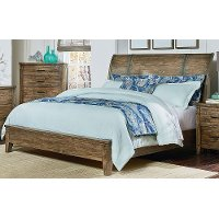 Rustic Casual Pine California King Sleigh Bed - Nelson