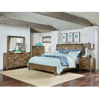 Rustic Casual Pine 4 Piece King Bedroom Set - Nelson