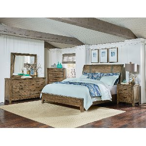 rustic casual pine 6piece king bedroom set nelson