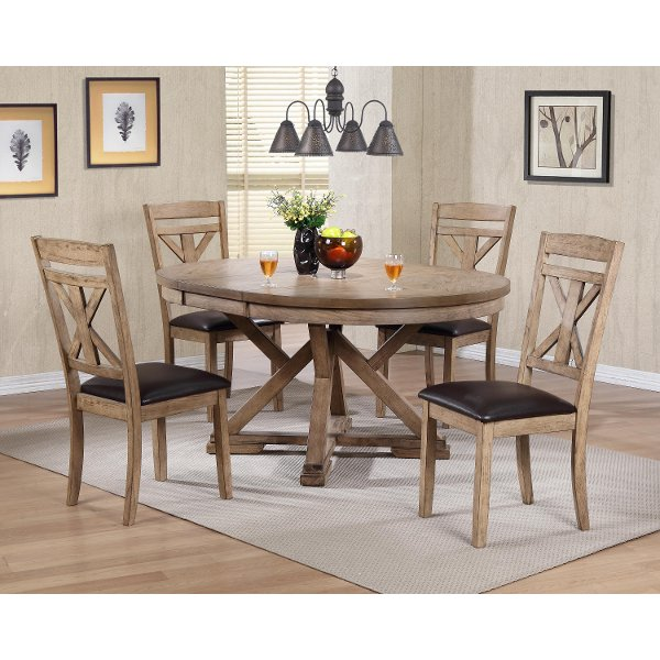 5 Piece Round Dining Set Rc Willey, Round Dining Table Set For 5 Chairs