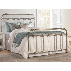 2095metalbed50 soft gold traditional queen metal bed samantha - Steel Bed Frame Queen