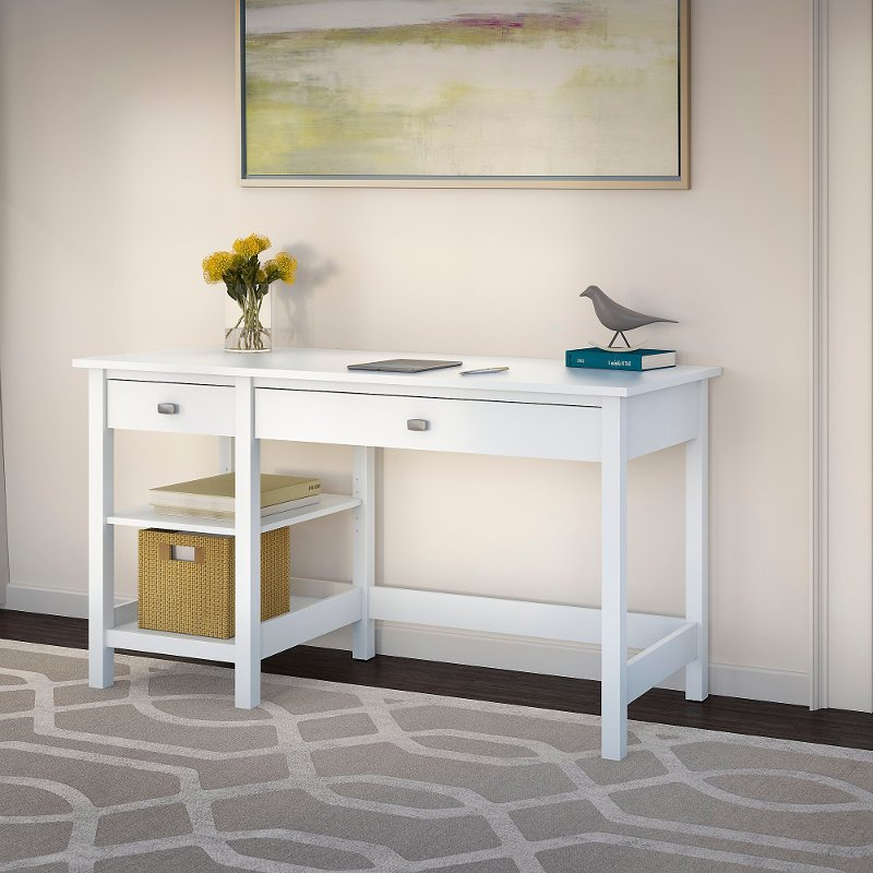 Pure White Computer Desk with Open Storage - Broadview