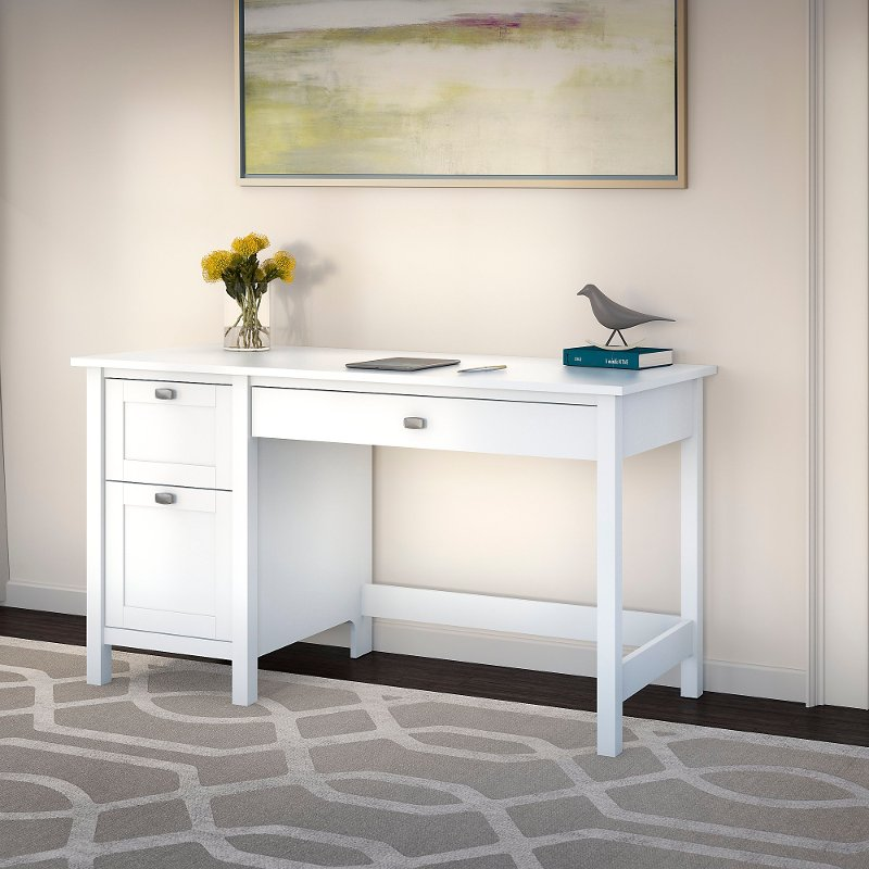 Pure White Computer Desk with 2 Drawer Pedestal - Broadview