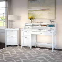 Computer Desk with Pedestal, Organizer and File Cabinet - Broadview