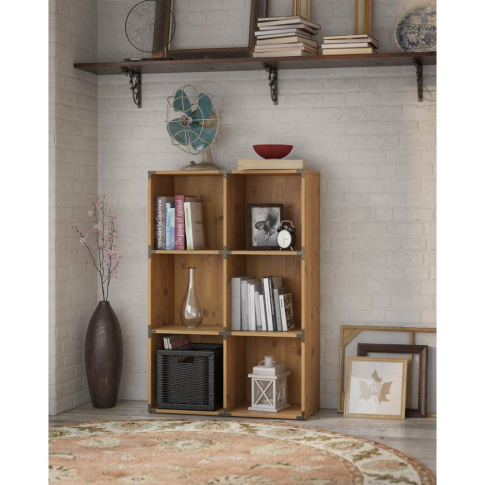 Kathy ireland golden pine 6 cube bookcase ironworks rc willey furniture store