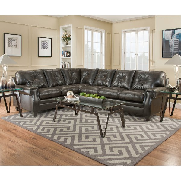 ... Dark Brown Classic Contemporary 2 Piece Sectional Sofa   Lucky