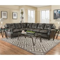 Dark Brown Upholstered Classic Contemporary 2 Piece Sectional - Lucky