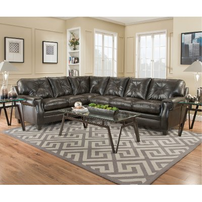 dark brown upholstered classic 2piece sectional lucky